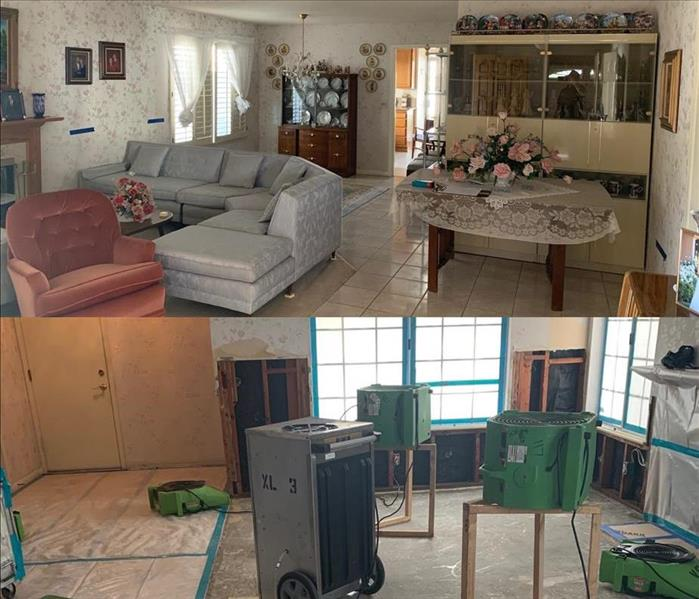 split photo showing equipment and drywall remove top of the photo shows home with wallpaper and furniture intact