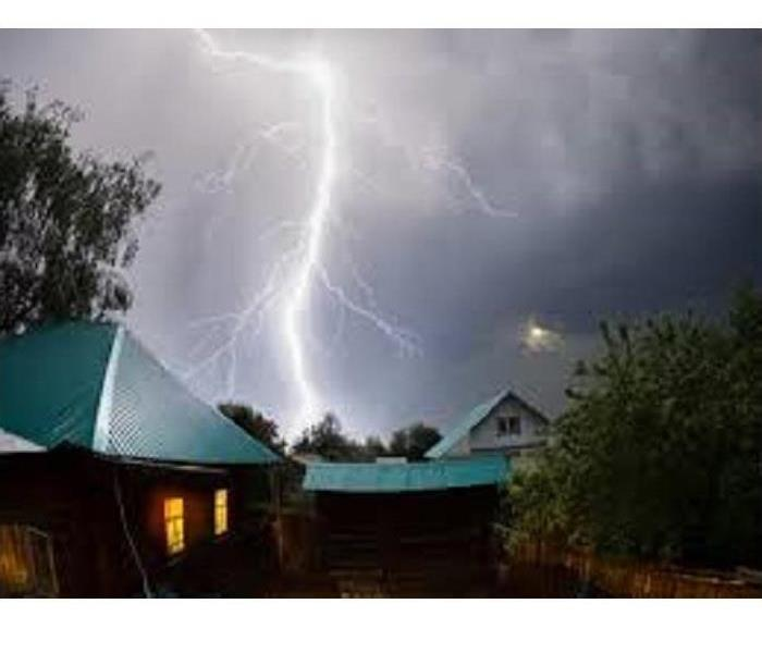 a home at night being struck by lightning